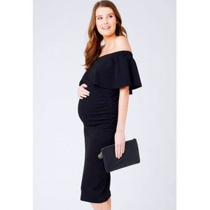 Ripe Maternity Soirée black ruched bodycon off the shoulder textured dress